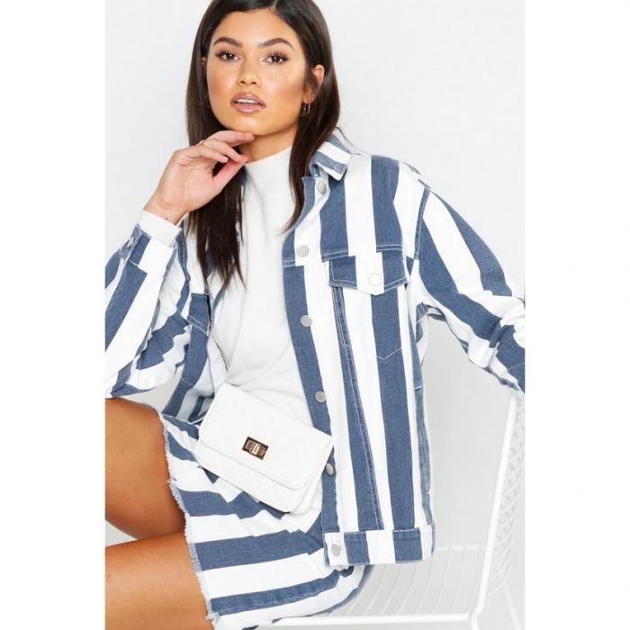 【海外限定】boohoo blue ブーフー 紺 ネイビー ストライプ デニム 【 navy stripe denim jacket 】