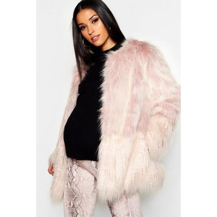 【海外限定】boohoo maternity ブーフー 【 mixed faux fur coat 】