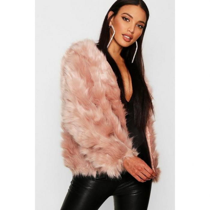 【海外限定】boohoo ブーフー 【 boutique faux fur panel coat 】