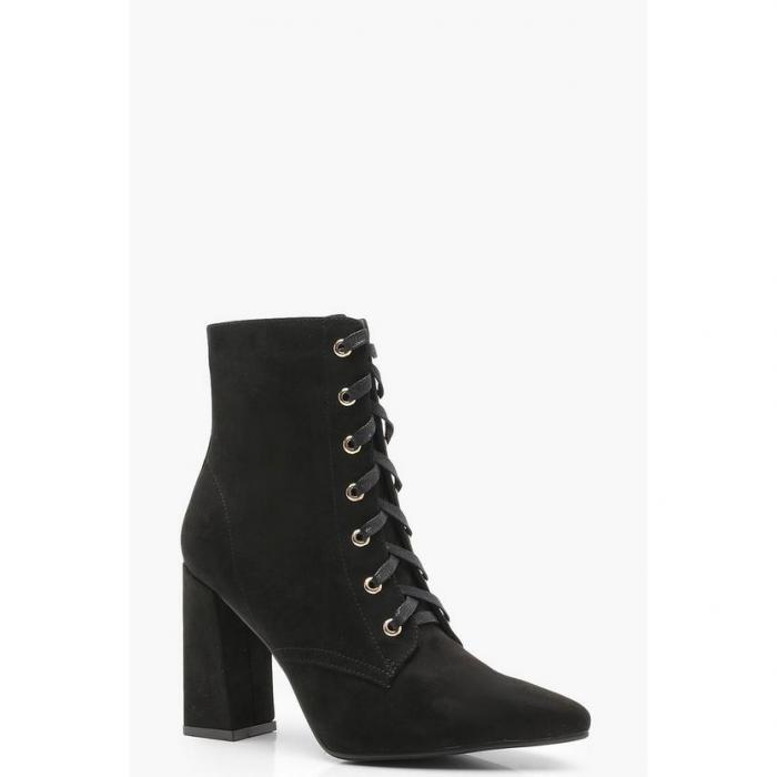 【海外限定】boohoo ブーフー 【 lace up pointed toe ankle shoe boots 】