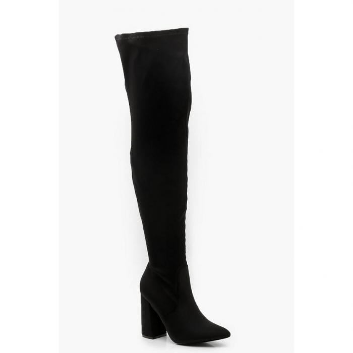 【海外限定】boohoo ブーフー 【 block heel over the knee boots 】