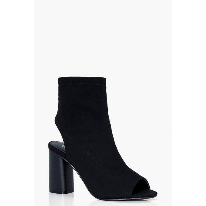 【海外限定】boohoo ブーフー 【 wide fit peeptoe sock boots 】
