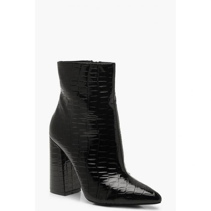 【海外限定】boohoo ブーフー 【 croc block heel sock boots 】