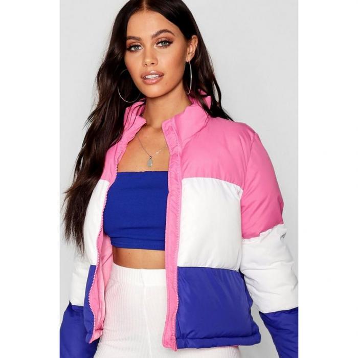 【海外限定】boohoo ブーフー パッド 【 panelled colour block padded jacket 】
