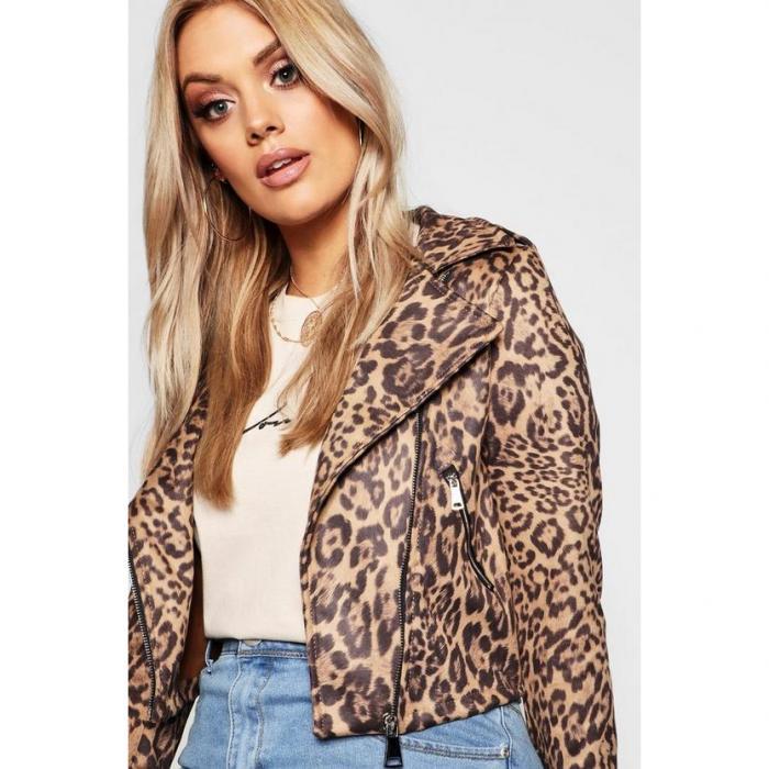 【海外限定】boohoo plus ブーフー ブーフープラス 【 leopard print suedette biker jacket 】