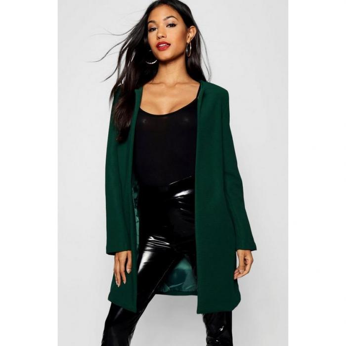 【海外限定】boohoo ブーフー 【 collarless textured longline jacket 】