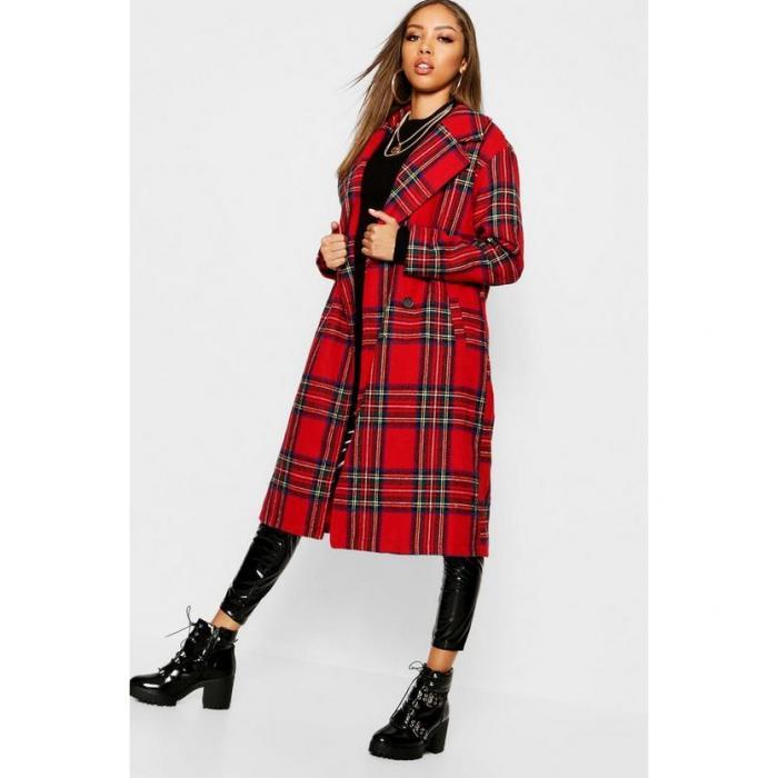 【海外限定】boohoo ブーフー 【 tartan check oversize wool look coat 】