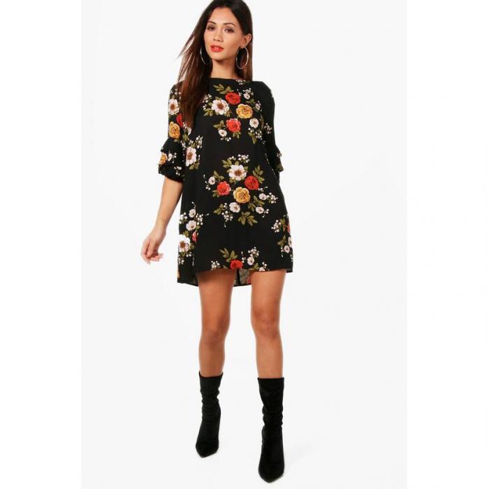 ブーフープチ 小さいサイズ レイチェル フローラル シフト ドレス ワンピース 黒 ブラック レディース 女性用 レディースファッション 【 BOOHOO PETITE BLACK RACHEL FLORAL SHIFT DRESS 】