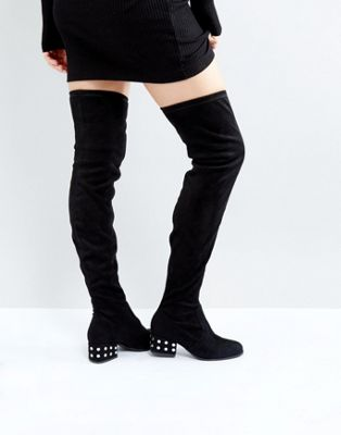 ロンドン レベル 銀色 シルバー スタッド ミッド ヒール オーバー ニー ブーツ 黒 ブラック ストレッチ レディース 女性用 靴 レディース靴 【 BLACK LONDON REBEL SILVER STUD MID HEEL OVER KNEE BOOT STRETCH