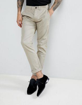 スリム フィット チノ ストーン メンズ 男性用 メンズファッション ズボン 【 SLIM THREADBARE FIT CHINOS STONE 】