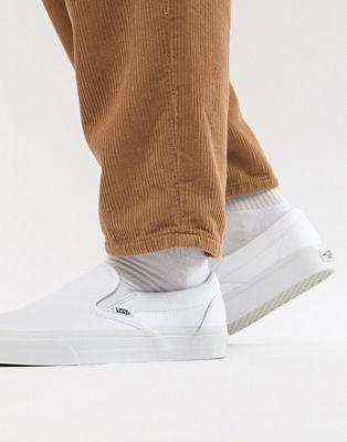 バンズ クラシック スリッポン イン 白 ホワイト メンズ 男性用 靴 【 VANS SLIPON CLASSIC PLIMSOLLS IN WHITE VEYEW00 】