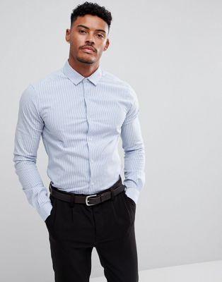 エイソス ASOS ホワイト ポプリン スマート メンズファッション ストライプ 男性用 ブルー トップス 青 メンズ ストレッチ イン スリム シャツ 白 【 SLIM STRIPE BLUE SMART STRETCH POPLIN SHIRT IN WHITE 】
