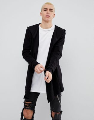 ベルシュカ BERSHKA 黒 カーディガン ブラック メンズ テクスチャ メンズファッション イン 男性用 フード 【 BLACK TEXTURED CARDIGAN WITH HOOD IN 】
