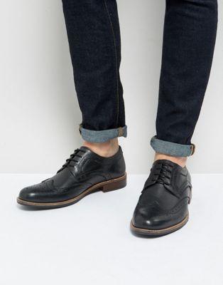 カジュアルシューズ 黒 メンズ靴 イン ストリート メンズ 銀色 スマート ブラック レザー 男性用 シルバー 【 STREET BLACK SILVER SMART BROGUES IN LEATHER 】