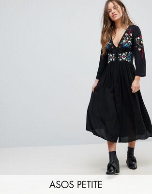 エイソス エイソスプチ ASOS PETITE 小さいサイズ マキシ ドレス ワンピース 黒 ブラック レディース 女性用 レディースファッション 【 BLACK EMBROIDERED MAXI DRESS 】