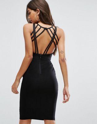 ストラップ バック ミディ ドレス ワンピース 黒 ブラック レディース 女性用 レディースファッション 【 BLACK VESPER STRAPPY BACK MIDI DRESS 】