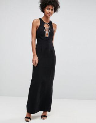 エイソス ASOS ハードウェア オープン バック マキシ ドレス ワンピース 黒 ブラック レディース 女性用 レディースファッション 【 BLACK HARDWARE OPEN BACK MAXI DRESS 】