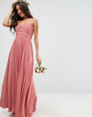 エイソス ASOS ウェディング ボウ フロント マキシ ドレス ワンピース ヌード レディース 女性用 レディースファッション 【 WEDDING BOW FRONT BANDEAU MAXI DRESS NUDE 】