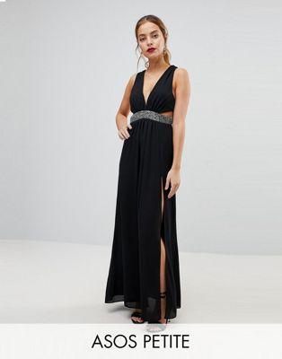 エイソス エイソスプチ ASOS PETITE 小さいサイズ ウェスト ストラップ バック マキシ ドレス ワンピース 黒 ブラック レディース 女性用 レディースファッション 【 BLACK EMBELLISHED WAIST STRAP BACK M