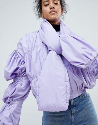 エイソス ASOS ボンバー ジャケット ネクタイ ネック 紫 パープル レディース 女性用 コート レディースファッション 【 PURPLE BOMBER JACKET WITH TIE NECK 】