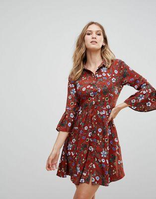 uttam boutique ブティック floral フローラル skater スケーター dress ドレス ワンピース with button ボタン front フロント レディースファッション
