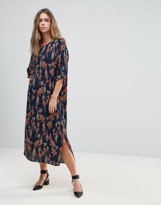just ジャスト female フィーマル tia ティア floral フローラル print プリント slit スリット shift シフト dress ドレス ワンピース レディースファッション