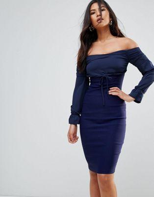 バルドット bardot バルドー スリーブ ペンシル ロング ドレス ワンピース vesper long sleeve pencil dress レディースファッション