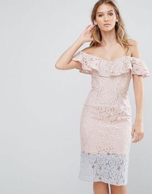 レース オーバーレイ カラー ドレス ワンピース ブロック リトル フリル little mistress colour block lace dress with frill overlay レディースファッション