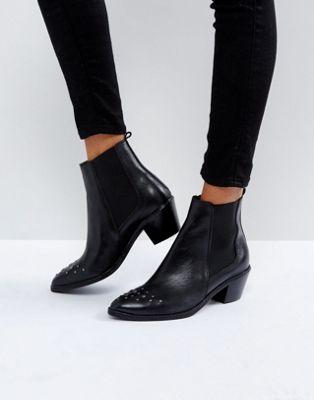スタッド レザー ブーツ ハドソン トー h by hudson stud toe leather boot レディース靴 靴