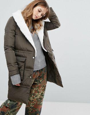 ロングライン コート urbancode quilted longline coat with borg trim アウター レディースファッション ジャケット