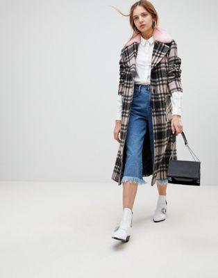 ブレンド blend コート チェック エレーヌ ロングライン ウール バーマン helene berman wool longline check faux fur collar coat アウター レディースファッション ジャケット