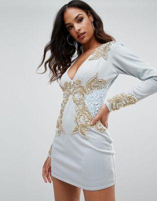 アスターイズボーン ボーン a star is born イズ ワンピース スター スリーブ ロング フロント ドレス long sleeve heavily embellished dress with v front レディースファッション