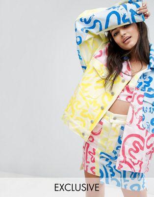 typical freaks multi art denim jacket coord マルチ フリークス デニム アート ティピカル ジャケット アウター コート レディースファッション