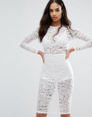 misha collection コレクション sheer lace レース pencil ペンシル dress ドレス ワンピース レディースファッション