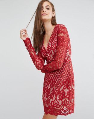 ネック ロング ワンピース レース スリーブ ミニ ドレス stylestalker long sleeve v neck lace mini dress レディースファッション
