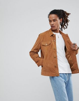 エイソス asos スウェード タン スエード イン トラッカー ジャケット suede trucker jacket in tan アウター メンズファッション コート