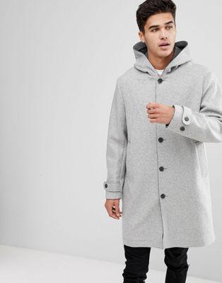 グレイ マン イン マンゴー ウール gray灰色 コート mango man hooded wool coat in grey ジャケット アウター メンズファッション