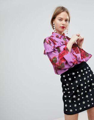 ブラウス プリント ラッフル インク イン フローラル ロスト lost ink blouse with ruffle trim in bold floral print シャツ トップス レディースファッション