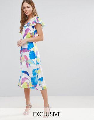 エレクトリック クラウド プリント ドレス エブリ ラッフル ミディ ワンピース every cloud electric print ruffle midi dress レディースファッション