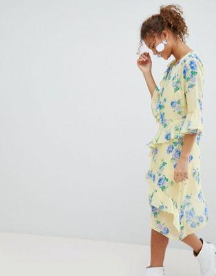 プリント フローラル ラッフル セルフリッジ ドレス ワンピース ミス ミディ miss selfridge floral print ruffle midi dress レディースファッション