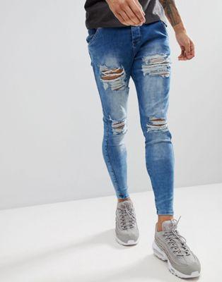ブルー フィット マッスル パンツ 青 アシッド イン siksilk muscle fit jeans in acid blue with distressing ズボン メンズファッション