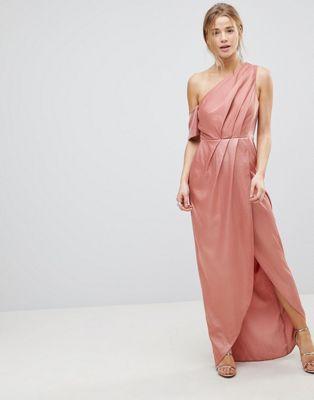 エイソス asos ドレス サテン マキシ ワンピース ショルダー hammered satin one shoulder maxi dress レディースファッション
