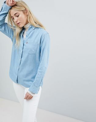 levi's ボーイフレンド デニム シャツ フィット boyfriend fit denim shirt ブラウス レディースファッション トップス
