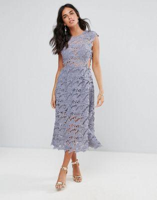 forever フォーエバー unique ユニーク lace レース midi ミディ dress ドレス ワンピース レディースファッション