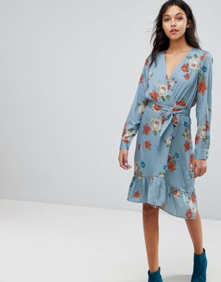 ワンピース ラップ ドレス プリンテット フローラル gestuz floral printed wrap dress レディースファッション