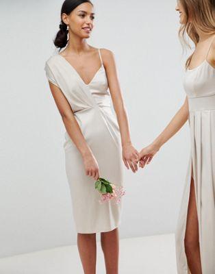 エイソス asos バック ネクタイ ミディ ワンピース サテン ペンシル ドレス デザイン design bridesmaid satin pencil midi dress with tie back レディースファッション
