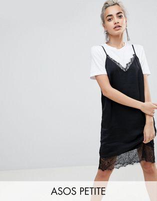 エイソス エイソスプチ asos petite lace insert slip mini dress 小さいサイズ ワンピース スリップ ミニ ドレス レース インサート レディースファッション