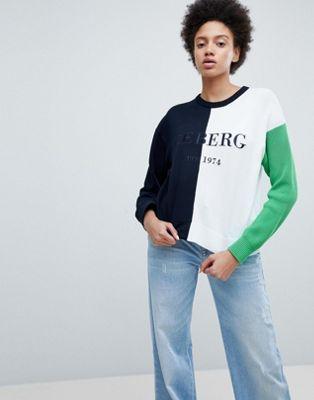 ブロック ロゴ ジャンパー スタンダード カラー iceberg standard logo colour block jumper トップス レディースファッション セーター ニット