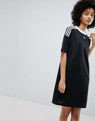 アディダス アディダスオリジナルス adidas originals adicolor three stripe dress in black ワンピース ストライプ イン 黒 オリジナルス ドレス スリー ブラック レディースファッション