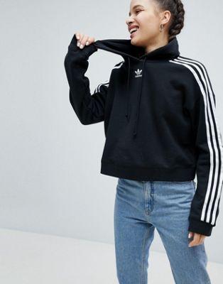 アディダス アディダスオリジナルス adidas originals ブラック イン パーカー オリジナルス スリー クロップド 黒 ストライプ フーディー adicolor three stripe cropped hoodie in black レディースファッシ?
